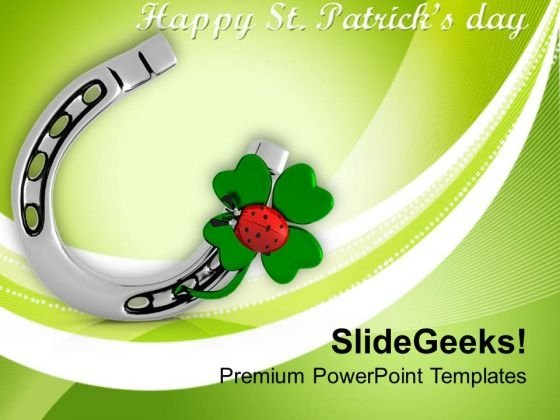 Shamrock With Lucky Symbol Patricks Day PowerPoint Templates Ppt Backgrounds For Slides 0313