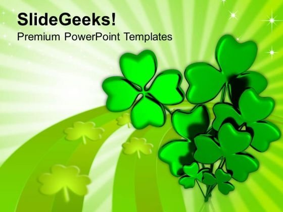 Shamrock With Message Happy Patricks Day PowerPoint Templates Ppt Backgrounds For Slides 0313