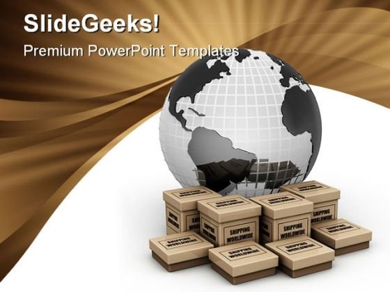 Shipping World Wide Concept Earth PowerPoint Template 0910