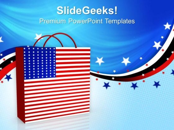Shopping Bag Americana PowerPoint Templates Ppt Backgrounds For Slides 1212