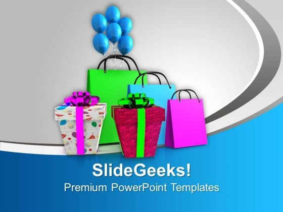 Shopping Bags And Gifts Sales PowerPoint Templates Ppt Backgrounds For Slides 0113