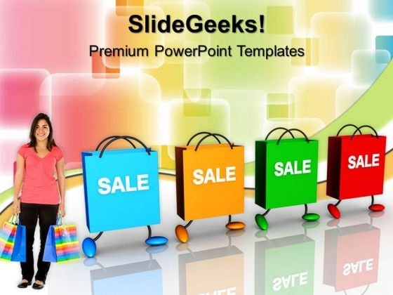 Shopping Bags With Tags Sales PowerPoint Templates And PowerPoint Themes 0712