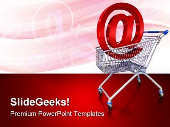 Shopping Cart With E Mail Sign Computer PowerPoint Templates And PowerPoint Backgrounds 0211