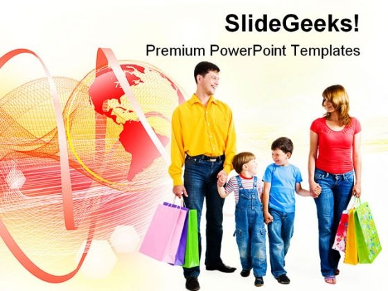 Shopping Family PowerPoint Themes And PowerPoint Slides 0511