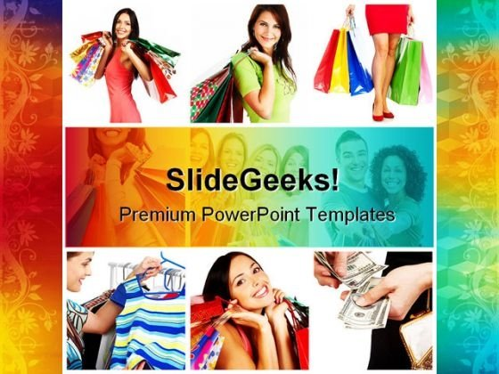 Shopping Women Lifestyle PowerPoint Template 0810