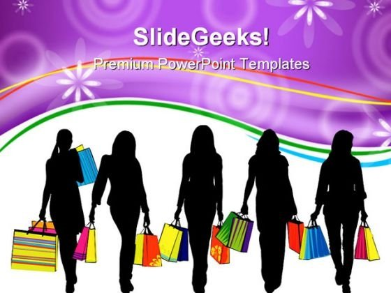 Shopping Women Lifestyle PowerPoint Templates And PowerPoint Backgrounds 0211
