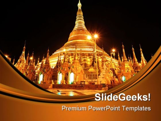 Shwedagon Pagoda At Night Religion PowerPoint Themes And PowerPoint Slides 0411