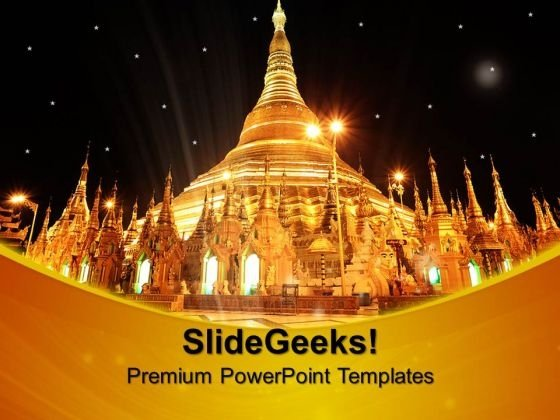 Shwedagon Pagoda At Night Yan Religion PowerPoint Templates And PowerPoint Themes 0712