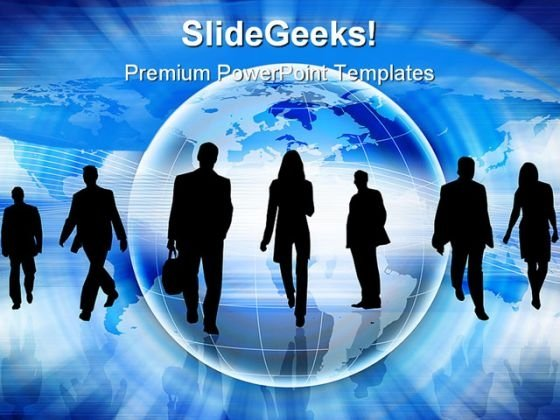 Silhouettes Of People Globe PowerPoint Templates And PowerPoint Backgrounds 0211