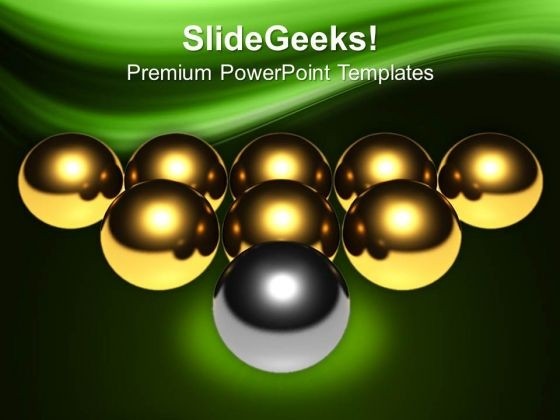 Silver Ball Infront Of Golden Leadership PowerPoint Templates Ppt Backgrounds For Slides 0213