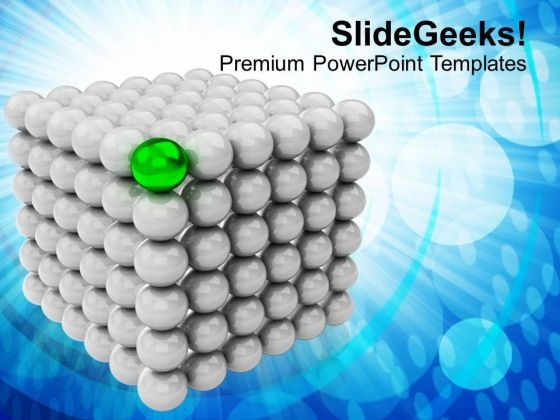 Silver Balls Forming Cubes Green Leader PowerPoint Templates Ppt Backgrounds For Slides 0113