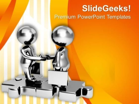 Silver Business Persons Handshake PowerPoint Templates Ppt Backgrounds For Slides 0713