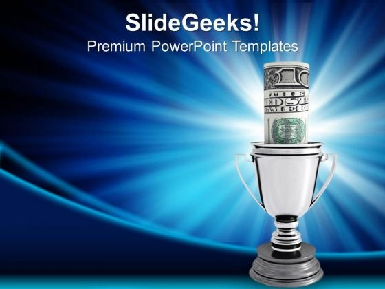 Silver Cup Of The Winner Competition PowerPoint Templates And PowerPoint Themes 1012