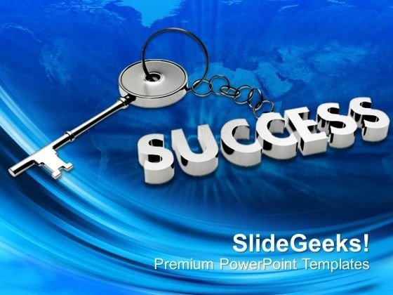 Silver Key With Success On Chain Business PowerPoint Templates Ppt Backgrounds For Slides 0113