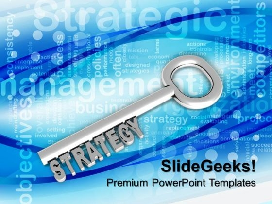 Silver Key With Word Strategy Business PowerPoint Templates And PowerPoint Themes 1012