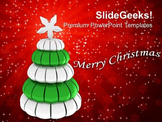 silver pine tree merry christmas powerpoint templates ppt