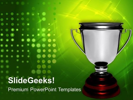 Silver Trophy For Winner In Competition PowerPoint Templates Ppt Backgrounds For Slides 0413