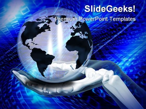 Skeleton Hand Holding Globe Business PowerPoint Backgrounds And Templates 1210