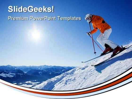 Skier In Mountain Holidays PowerPoint Templates And PowerPoint Backgrounds 0611