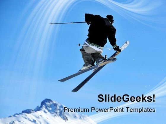 Skier Jumping Holidays PowerPoint Templates And PowerPoint Backgrounds 0811