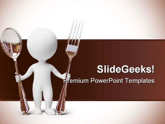 Small People Fork And Spoon Food PowerPoint Backgrounds And Templates 0111