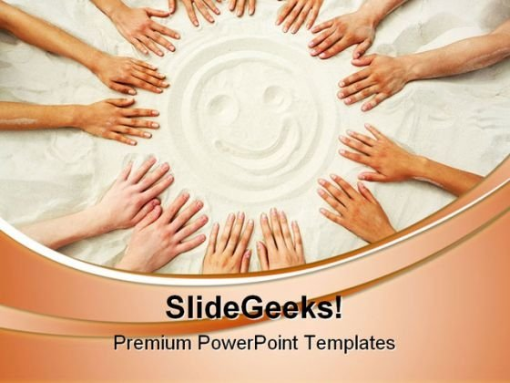 Smile Face On Sand Beach PowerPoint Themes And PowerPoint Slides 0811