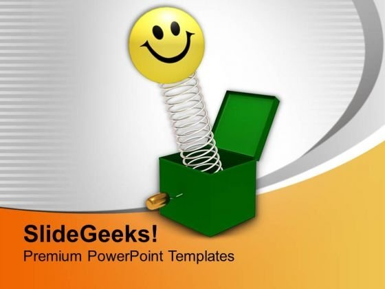 Smiley Coming Out Of Green Box Happiness PowerPoint Templates Ppt Backgrounds For Slides 0213