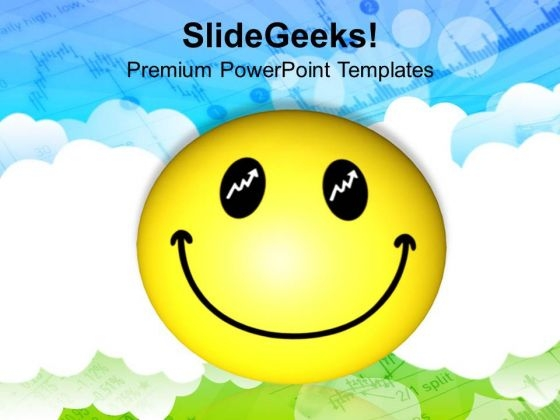 Smiley Face Over Cloudy Background PowerPoint Templates Ppt Backgrounds For Slides 0213