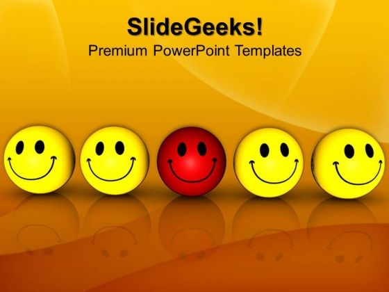 Smiley Team With Leader PowerPoint Templates And PowerPoint Themes 1012