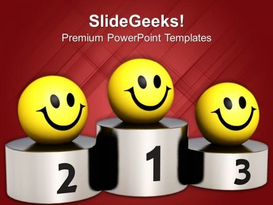 Smileys On Winner Podium Competition PowerPoint Templates Ppt Backgrounds For Slides 0113