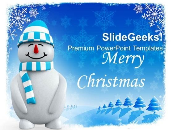 Smiling Snowman On Snowflakes Background PowerPoint Templates Ppt Backgrounds For Slides 1112
