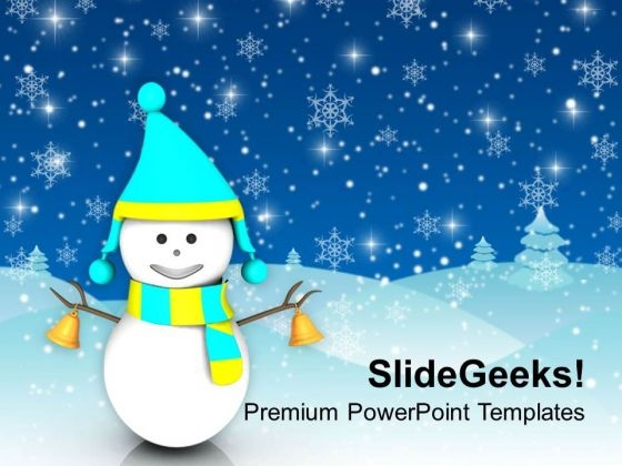 Smiling Snowman On Winter Background Powerpoint Templates Ppt