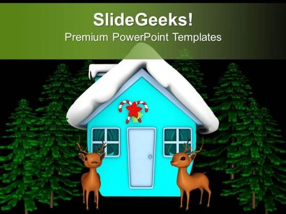 Snow Covered House With Deer PowerPoint Templates Ppt Backgrounds For Slides 0713