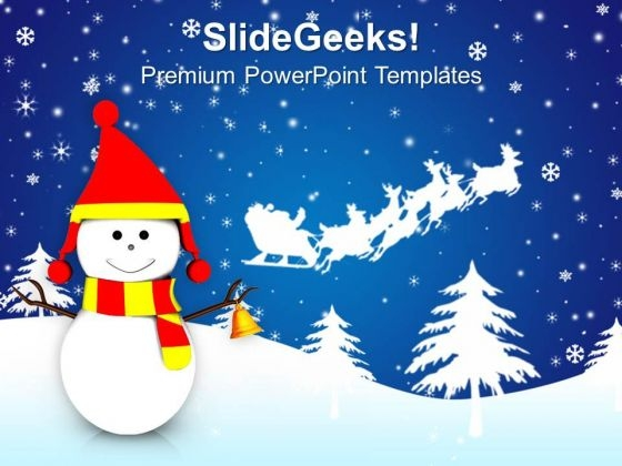 Snowman And Santa Sleigh Christmas Background PowerPoint Templates