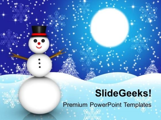 Snowman Christmas Holidays Powerpoint Templates Ppt Backgrounds For