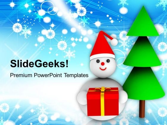 Snowman Holding Christmas Gifts Holidays PowerPoint Templates Ppt Backgrounds For Slides 1112