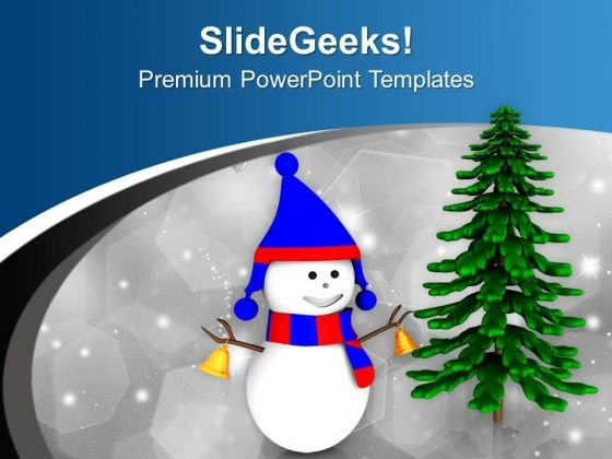 Snowman In Blue Red Dress With Tree PowerPoint Templates Ppt Backgrounds For Slides 0713