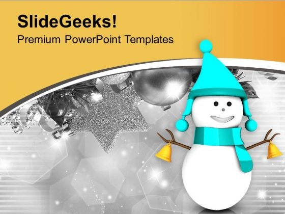 Snowman In Skyblue Dress Christmas Theme PowerPoint Templates Ppt Backgrounds For Slides 0713