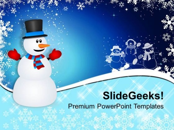 Snowman On Christmas Background PowerPoint Templates Ppt Backgrounds For Slides 1112