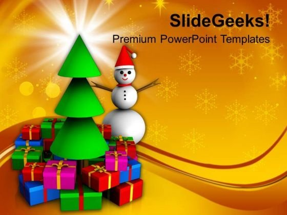 Snowman Standing Behind Gifts PowerPoint Templates Ppt Backgrounds For Slides 1112