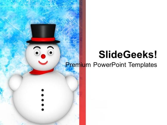 Snowman Wearing Hat Christmas Events PowerPoint Templates Ppt Backgrounds For Slides 1112