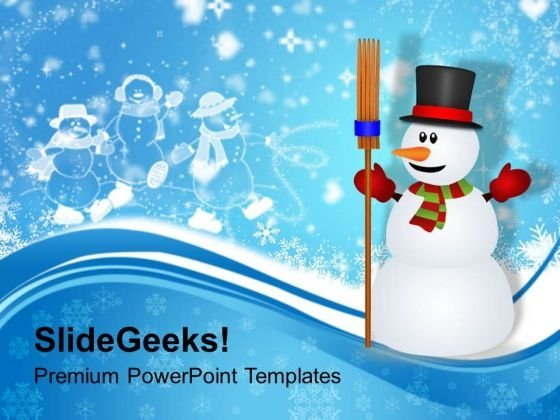 Snowman With Broom On Winter Background PowerPoint Templates Ppt Backgrounds For Slides 1112