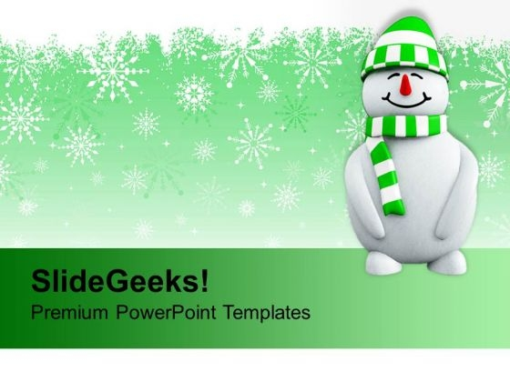 Snowman With Christmas Background Holidays PowerPoint Templates Ppt Backgrounds For Slides 1112