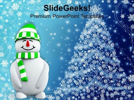 Snowman With Christmas Background PowerPoint Templates Ppt Backgrounds For Slides 1112
