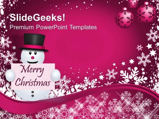 Snowman With Christmas Message Holidays PowerPoint Templates Ppt Backgrounds For Slides 1212
