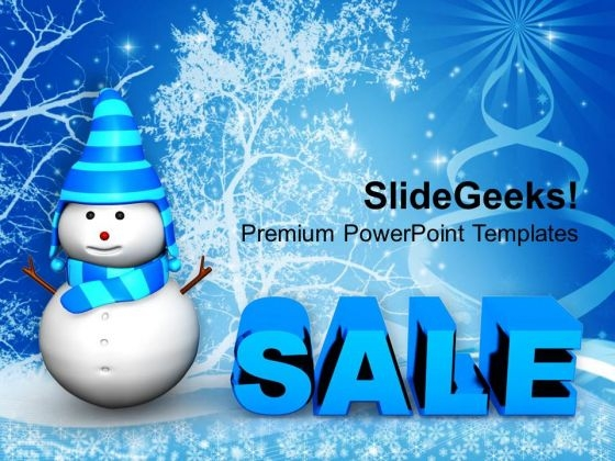 Snowman With Christmas Sale Shopping PowerPoint Templates Ppt Backgrounds For Slides 1112