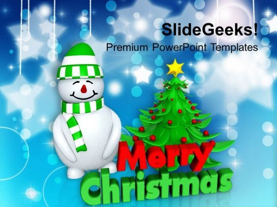 Snowman With Green Christmas Tree PowerPoint Templates Ppt Backgrounds For Slides 1212