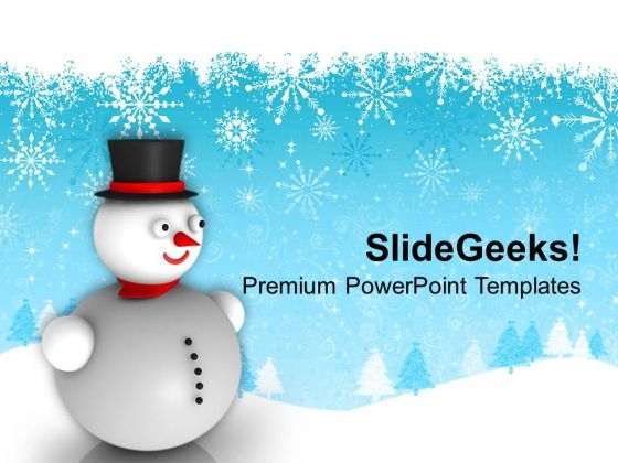 Snowman With Hat On Winter Background PowerPoint Templates Ppt Backgrounds For Slides 1112