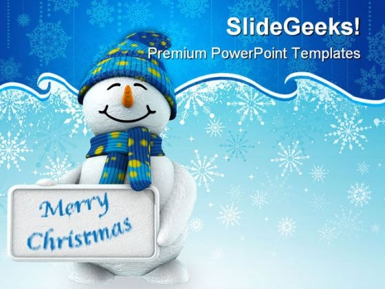 Snowman With Signpost Festival PowerPoint Templates And PowerPoint Backgrounds 0311