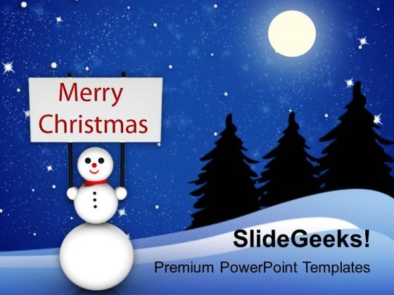 Snowman With Winter Christmas PowerPoint Templates Ppt Backgrounds For Slides 1112